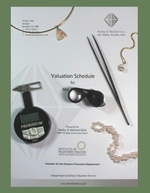 Image of a jewellery valuation schedule